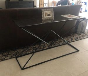 55in TV stand/Glass and Metal Long table -$60 for Sale in Riviera Beach, FL