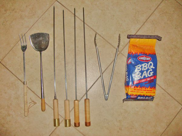 barbecue utensils, skewers, and BBQ bag ... all for $5