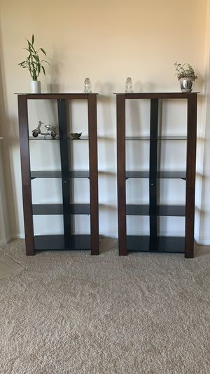 Tempered Glass and Dark Wood Bookshelves for Sale in San Diego, CA