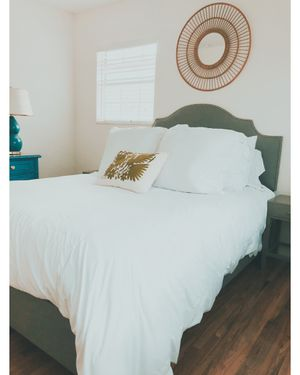 Queen Size Bed with headboard and matching fabric frame for Sale in Tampa, FL