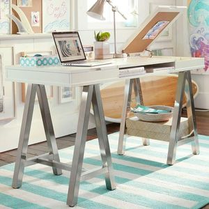 Smiley white Desk with metal legs. Pottery Barn. Used. for Sale in Miami, FL