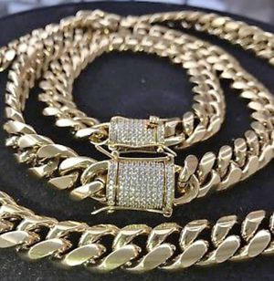 Brand New Men's 10mm (30 inch) 18K Gold Over Solid Stainless Steel Cuban Linked Chain&Bracelet for Sale in Brooklyn, NY