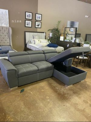 👉$39 Down Payment 👈👍 Ferriday Blue Storage Sleeper Sectional for Sale in Jessup, MD