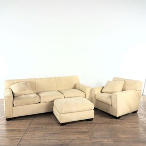 Crate & Barrel Beige Upholstered Sofa, Armchair, and Ottoman (1022531) for Sale in South San Francisco, CA