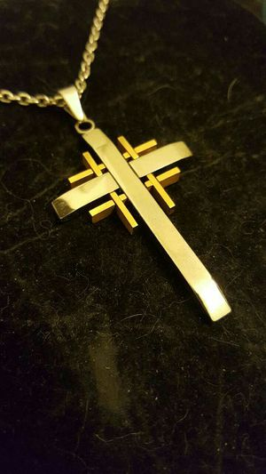 SILVER & GOLD CROSS WITH SILVER CHAIN for Sale in Colorado Springs, CO