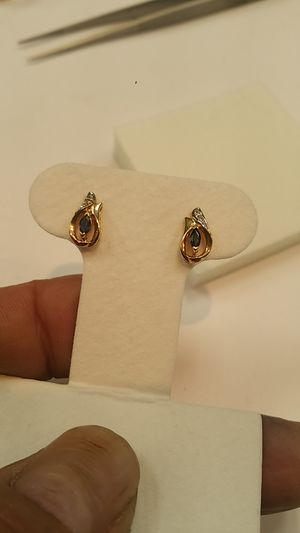 14 kt gold sapphire and diamond earrings for Sale in Philadelphia, PA