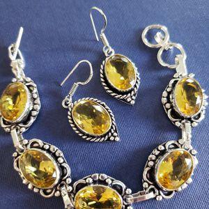 Faceted-citine-bracelet-earrings Set 925 for Sale in Woodridge, IL