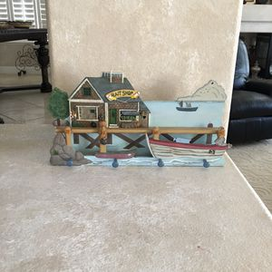 """(30% off pick up) Nautical 19"""" x 9.75"""" x 2"""" Wood+Resin Wall Hook Coat Rack Bait Shop Distressed Blue Boat Ocean Decor for Sale in Las Vegas, NV"""