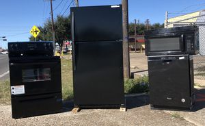 NEW COMPLETE SET BLACK KITCHEN APPLIANCE BUNDLE - MICROWAVE, FRIDGE, DISHWASHER, ELECTRIC RANGE for Sale in Houston, TX