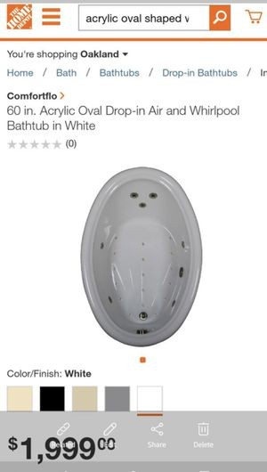 Hydro Systems (plug in), 60 inch drop in whirlpool jetted tub for Sale in San Leandro, CA