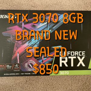 GIGABYTE AORUS RTX 3070 8GB, BRAND NEW & SEALED for Sale in Riverside, CA