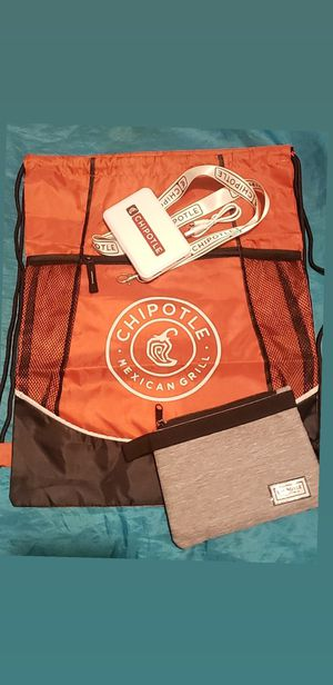 Chipotle set Bag, lanyard, money clutch & drawstring bag for Sale in Los Angeles, CA
