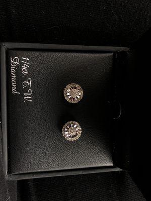 Diamond/Silver Earrings for Sale in Dover, PA