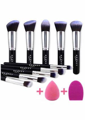 Brand new Makeup Brush Set, Premium Synthetic Kabuki Foundation Face Powder Blush Eyeshadow Brushes Makeup Brush Kit with Blender Sponge and Brush C for Sale in Arnold, MO