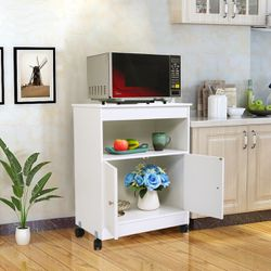 Lowestbest Kitchen Cabinet for Home, Wooden Rolling Kitchen Cart, White Kitchen Carts and Islands, Modern Large Open Shelf Cabinet Microwave for Sale in Houston,  TX