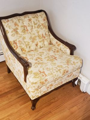 One antique couch two end tables and matching chair for Sale in Boston, MA