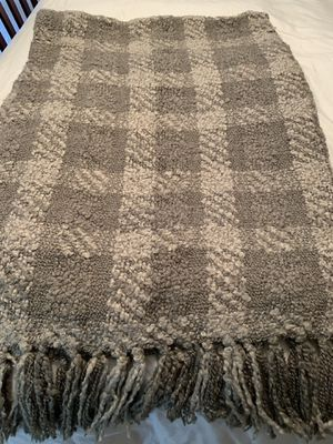 Woven Workz throw blanket muted green plaid boucle for Sale in Arlington, VA