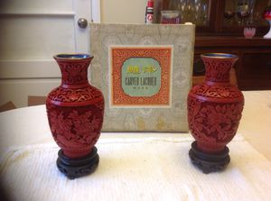 Carved lacquer vases vintage for Sale in Arlington, VA