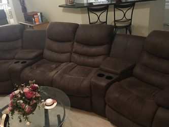 Two Recliners Sectional With Matching Ottoman for Sale in Humble,  TX