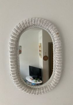 White Rattan Wicker Wall Mirror for Sale in Raleigh,  NC