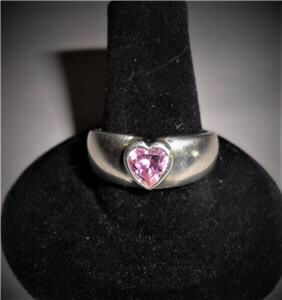 QVC STERLING SILVER DQ CZ PINK HEART RING SIZE 8.5 DIAMONIQUE for Sale in Fountain Hills, AZ