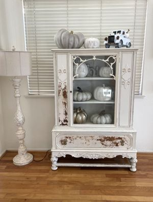 Gorgeous farmhouse vintage antique distressed milk paint china curio shabby chic cottage chic collectors display for Rae Dunn collection or home decor for Sale in Rancho Cucamonga, CA