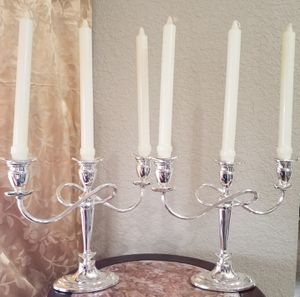 Pair of candles holders silver for Sale in Miami, FL