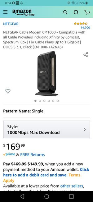 NETGEAR CM1000 ULTRA HIGH SPEED CABLE MODEM DOCSIS 3.1 for Sale in Las Vegas, NV