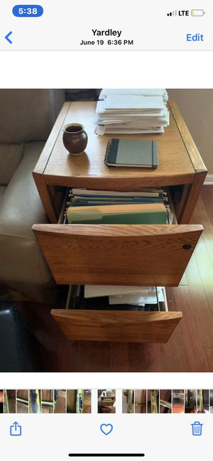 SOLID OAK 2-drawer file cabinet. Holds BOTH legal and letter-size files. Great condition. $75 OBO. for Sale in Washington Crossing, PA