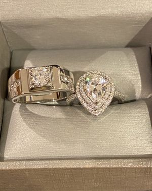 Stamped 925 Sterling Silver Engagement/Wedding Ring Set- Code 561 for Sale in Columbus, OH
