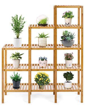 💥BRAND NEW 5-Tier Bamboo Shelf Multifunctional Customizable Utility Bathroom Plant Display Stand Storage Rack (9-Pots) for Sale in Livingston, NJ