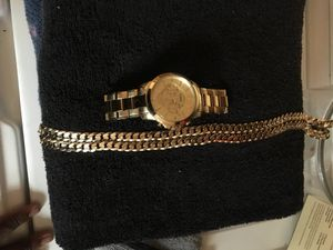 Gold fossil watch with matching chain for Sale in Wakefield, VA
