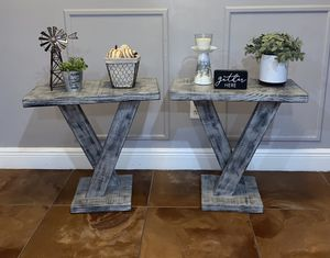 Beautiful set of gray distressed end tables for Sale in Orlando, FL