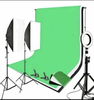 LED Ring light + 2 set Softbox studio lighting kit + 3 Backgrounds + Background support stand price firm photography for Sale in Pasadena, CA