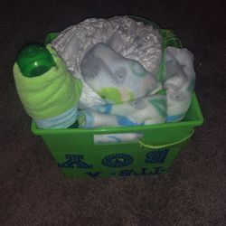 Green Baby Boy Basket With 2 Rolls Of Diapers, 2 Blankets, 2 Wash Clothes, 1 Green Bottle for Sale in Burlington,  NJ