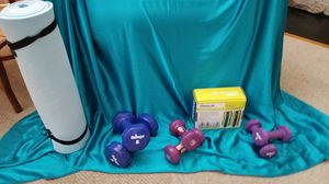 Weights, 8 lbs,3 lbs, 2 lbs and ankle weights and yoga mat for Sale in Brookfield, CT