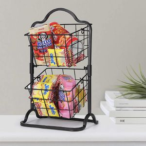 2-Tier Metal Basket Stand, Mini Kitchen Storage Basket Countertop Shelf Rack for Fruits, Vegetables, Household Items, Toiletries(Black) for Sale in Garden Grove, CA