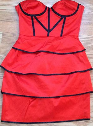 BEBE Rafaela Bodice Peplum Tiered Skirt RED Corset Bustier Dress for Sale in Hyattsville, MD