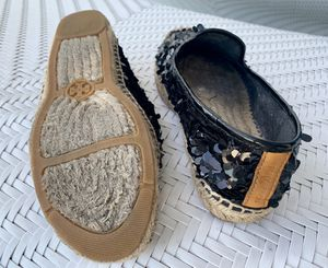 Tory Burch black sequin/brown leather Espadrilles, 7.5 for Sale in Orlando, FL