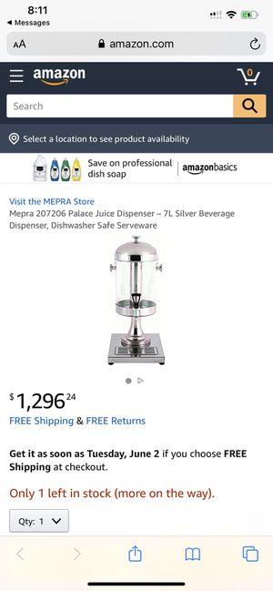 Mepra 207206 Palace Juice Dispenser – 7L Silver Beverage Dispenser, Dishwasher Safe Serveware for Sale in Huntersville, NC