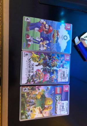 3 new Nintendo switch games ....super smash bros...Mario and sonic at the Olympic Games...and LEGO world for Sale in Davenport, FL