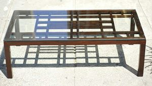 """#30352 Modern Asian Glass and Teak 54"""" x 28"""" Coffee Table for Sale in Piedmont, CA"""