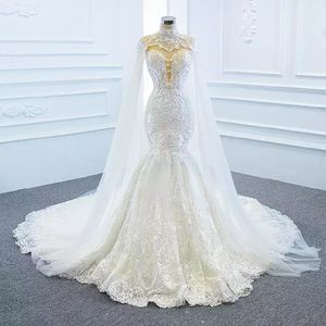 Lace Mermaid Wedding Dresses With Tulle Shawl Slim Elegant Gown for Sale in Atlanta, GA