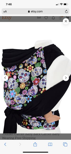 Mei Tai Baby Sling SUGAR SKULLS rare find Carrier Wrap Toddler size XL NEW Handmade for Sale in Las Vegas, NV