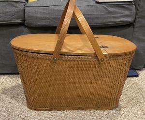Vintage Wood Picnic Basket for Sale in Palatine, IL
