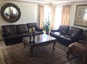 Very Comfortable Leather sofa loveseat and arm chair I got from basset $5950 now selling $3000 for Sale in Castro Valley, CA