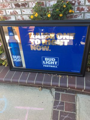 Bud light glass/ mirror wall bar sign or for game room for Sale in Corona, CA