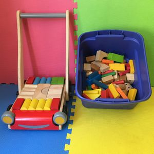 Baby walker, push car and 102 Wooden Color Blocks for Sale in Pasadena, CA