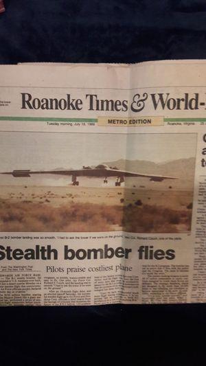 News paper on the Maiden flight B-2 Stealth Bomber Jet.. 1989 for Sale for sale  Roanoke, VA