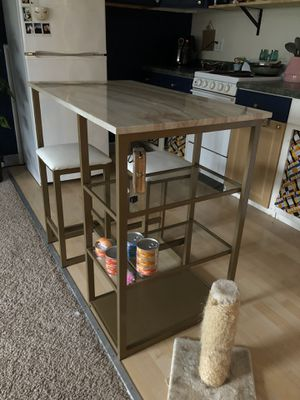 Kitchen island with 2 stools for Sale in Beaverton, OR